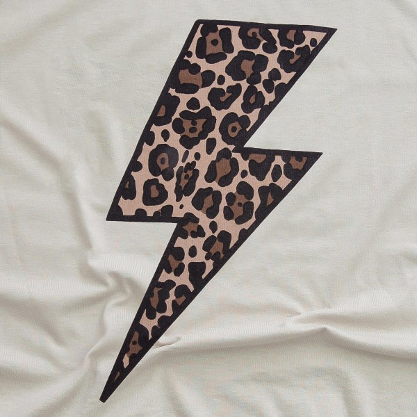 Stone Bella Canvas Brand Short Sleeve Leopard Print Lightning Bolt Printed Boutique Graphic Tee.  - Pack Breakdown: 6pcs/pack - Sizes: 1S / 2M / 2L / 1XL - 52% Cotton / 48% Polyester