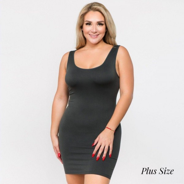 "Women's Plus Size Seamless Tank Slip Dress.  • Sleeveless  • Scoop neckline  • Curve-Hugging • Body Contouring • Soft and stretchy  • Seamless design for comfort  • Short length hem  • Imported  - One size fits most plus 16-22 - Approximately 28"" L - 92% Nylon, 8% Spandex"