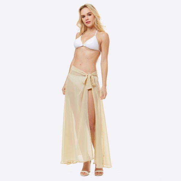 "Women's lightweight solid sheer beach skirt sarong.  - One size fits most 0-14 - Approximately 40"" L - 100% Polyester"