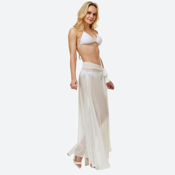 """Women's lightweight solid sheer beach skirt sarong.  - One size fits most 0-14 - Approximately 40"""" L - 100% Polyester"""