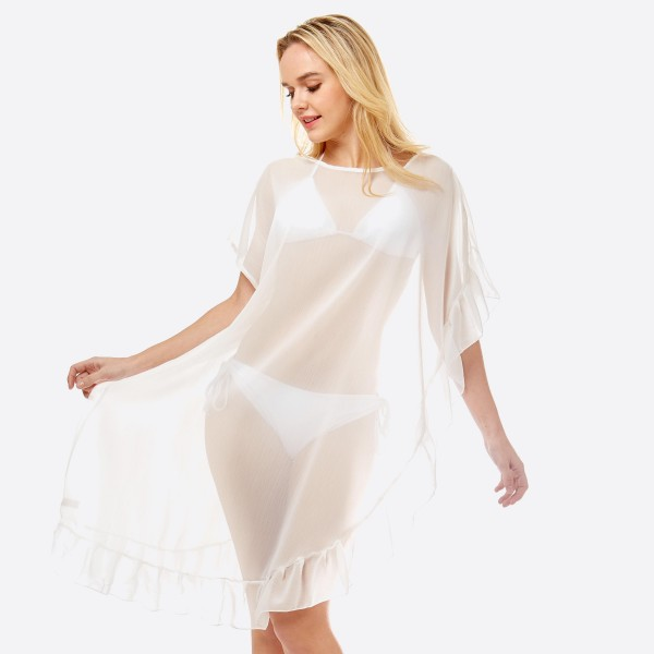 Wholesale women s lightweight solid sheer half ruffle cover up top One fits most
