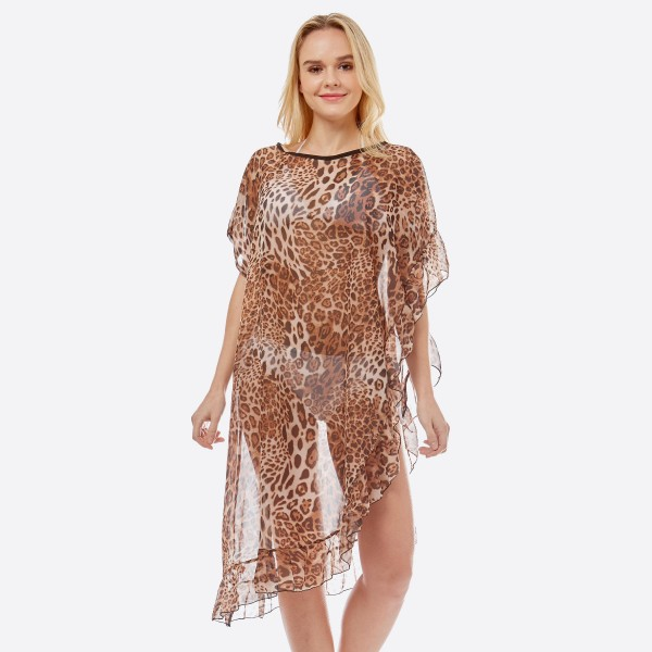 "Women's Lightweight Sheer Leopard Print Half Ruffle Cove Up Top.  - One size fits most 0-14 - Approximately 38"" L - 100% Polyester"