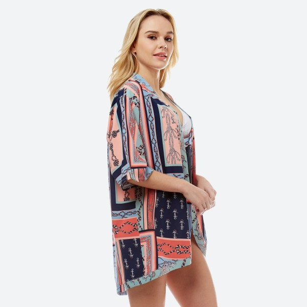 "Women's Short Lightweight Nautical Anchor Print Kimono.  - One size fits most 0-14 - Approximately 33"" L - 100% Polyester"