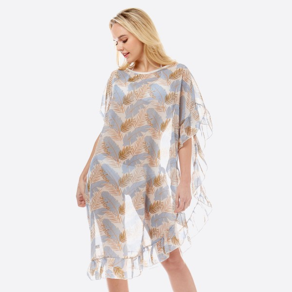 "Women's lightweight sheer tropical leaf half ruffle cover up top.  - One size fits most 0-14 - Approximately 38"" L - 100% Polyester"