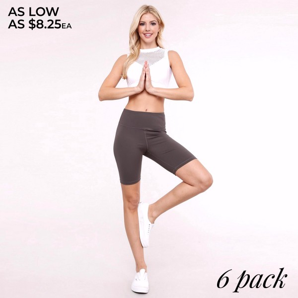 """Women's active high waist bike shorts with hidden pocket.  • Elasticized high rise waistband • Crop knee length hem • Soft and stretchy • Moisture wicking fabric • Fits like a glove • 4-way-stretch fabric  • Waistband with interior hidden pocket • Flat lock seams prevent chafing  - Pack Breakdown: 6pcs/pack - Sizes: 2-S / 2-M / 2-L - Inseam approximately 8.5"""" L - 75% Nylon, 25% Spandex"""