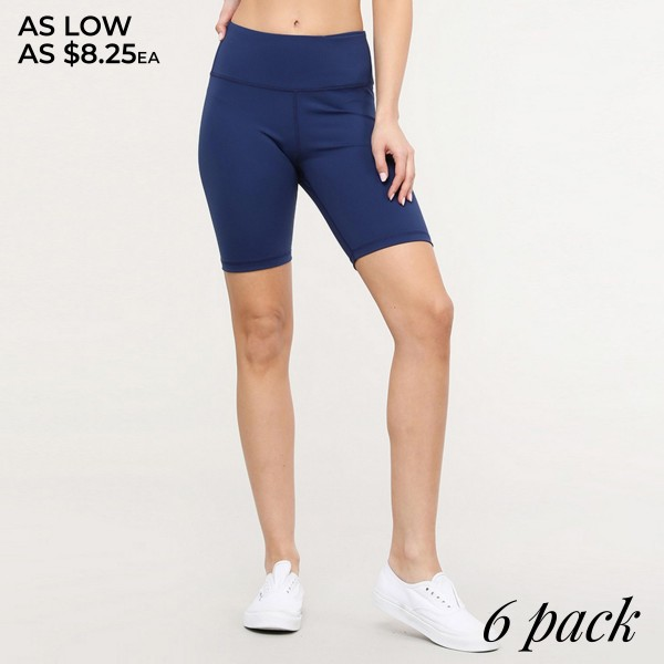 "Women's active high waist bike shorts with hidden pocket.  • Elasticized high rise waistband • Crop knee length hem • Soft and stretchy • Moisture wicking fabric • Fits like a glove • 4-way-stretch fabric  • Waistband with interior hidden pocket • Flat lock seams prevent chafing  - Pack Breakdown: 6pcs/pack - Sizes: 2-S / 2-M / 2-L - Inseam approximately 8.5"" L - 75% Nylon, 25% Spandex"