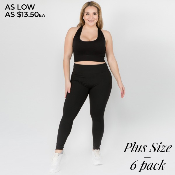 "Women's Plus Size Active High Waist Tech Pocket Workout Leggings.  • Waistband with interior pocket and back zipper pocket • Figure sculpting skinny leg design • Exterior side pocket along leg • Stretchy Nylon fabric • Flat seams for a no-chafe irritation • 4-way-stretch fabric  • Flat-locked seaming  • Ankle-length • Hand Wash Cold, Do Not Bleach, Hang Dry • Imported  - Pack Breakdown: 6pcs/pack - Sizes: 3 XL / 2 XXL / 1 XXXL - Inseam approximately 29"" L - 83% Nylon / 17% Spandex"