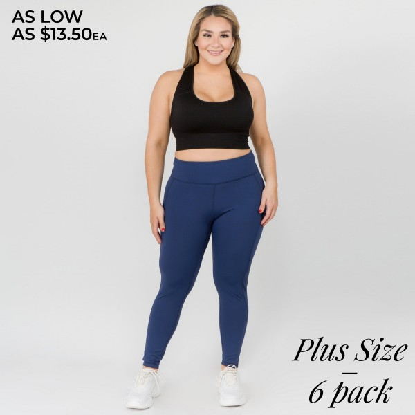 """Women's Plus Size Active High Waist Tech Pocket Workout Leggings.  • Waistband with interior pocket and back zipper pocket • Figure sculpting skinny leg design • Exterior side pocket along leg • Stretchy Nylon fabric • Flat seams for a no-chafe irritation • 4-way-stretch fabric  • Flat-locked seaming  • Ankle-length • Hand Wash Cold, Do Not Bleach, Hang Dry • Imported  - Pack Breakdown: 6pcs/pack - Sizes: 2-XL / 2-2XL / 2-3XL  - Inseam approximately 29"""" L - 83% Nylon / 17% Spandex"""