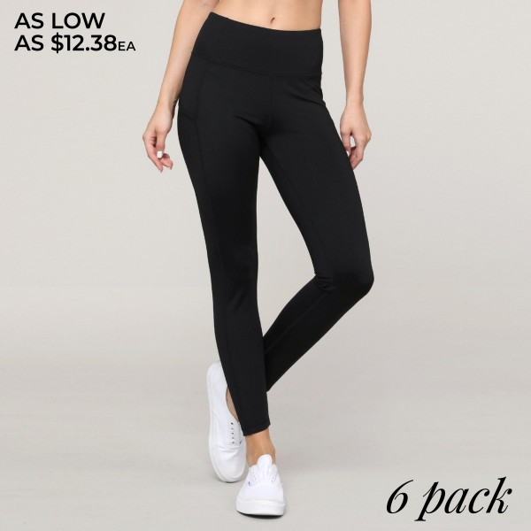 "Women's Active High Waist Tech Pocket Workout Leggings.  • Flattening elasticized waistband with interior pocket and back zipper pocket • Figure sculpting skinny leg design • Exterior side pocket along leg • Stretchy Nylon fabric • 4-way-stretch fabric  • Flat lock seams prevent chafing • Ankle-length • Hand Wash Cold, Do Not Bleach, Hang Dry • Imported  - Pack Breakdown: 6pcs/pack - Sizes: 2-S / 2-M / 2-L - Inseam approximately 29"" L - 83% Nylon, 17% Spandex"