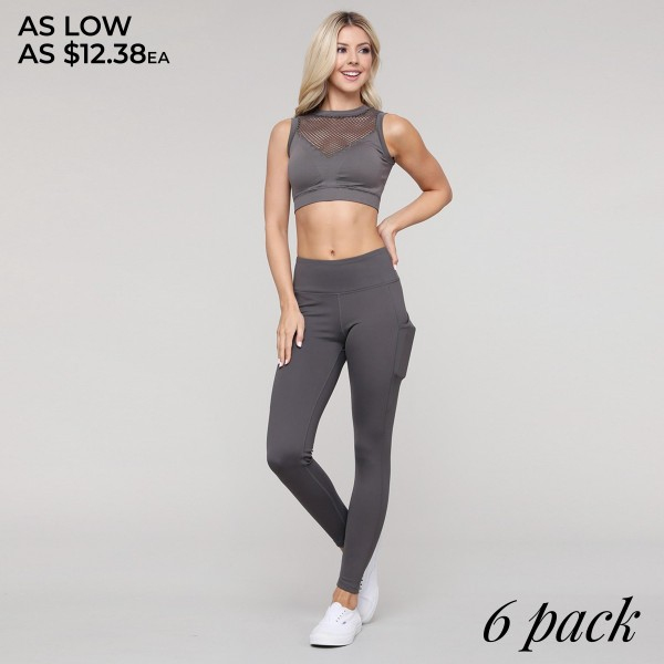 """Women's Active High Waist Tech Pocket Workout Leggings.  • Flattening elasticized waistband with interior pocket and back zipper pocket • Figure sculpting skinny leg design • Exterior side pocket along leg • Stretchy Nylon fabric • 4-way-stretch fabric  • Flat lock seams prevent chafing • Ankle-length • Hand Wash Cold, Do Not Bleach, Hang Dry • Imported  - Pack Breakdown: 6pcs/pack - Sizes: 2-S / 2-M / 2-L - Inseam approximately 29"""" L - 83% Nylon, 17% Spandex"""