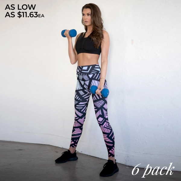 """Women's Active Ombre Geometric Print Workout Leggings.  • High rise waistband with hidden pocket • Colorful geometric line print • 4-way stretch for more movement • Fits like a glove • Full length design • Moisture wick fabric • Triangular Cotton Gusset Lining • Flatlock stitched seams prevent chafing • Pull up styling • Imported  - Pack Breakdown: 6pcs/pack - Sizes: 2-S / 2-M / 2-L - Inseam approximately 27"""" L - 46% Polyester / 41% Nylon / 13% Spandex"""