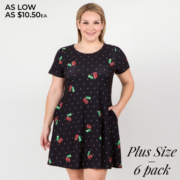 """Women's Plus short sleeve cherry polka dot dress with pockets.  • Round neckline • Cherry print • Short sleeves • Two pockets to keep your hands warm • A-line silhouette • Soft and comfortable fabrication • Pull on/off design • Imported  - Pack Breakdown: 6pcs/pack - Sizes: 2-XL / 2-2XL / 2-3XL - Approximately 34"""" L - 95% Polyester, 5% Spandex"""