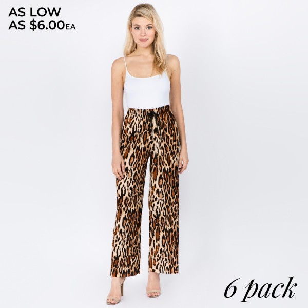 "Women's New Mix brand pleated leopard print palazzo pants.  - 1.5"" elastic waistband  - Adjustable drawstring - Leopard print  - Pleated  - Pack Breakdown: 6pcs/pack - Sizes: 1-S / 2-M / 2-L / 1-XL - Inseam approximately 28"" L - 92% Polyester, 8% Spandex"
