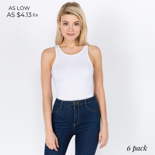 """Women's New Mix Brand Solid Seamless Tank Top Bodysuit. (6 Pack)  - Crotch Button Closure - Pack Breakdown: 6 Suits Per Pack - Sizes: 3-S/M / 3-L/XL - Approximately 26"""" L from top back to crotch - 92% Polyester, 8% Spandex"""