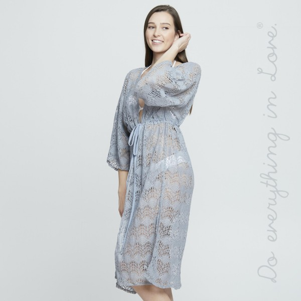 "Do everything in Love Brand Lightweight Maxi Lace Kimono.  - One size fits most 0-14 - Approximately 40"" L - 100% Acrylic"