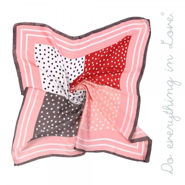 "Do everything in Love brand lightweight silky polka dot patchwork bandana scarf.  - Approximately 27"" x 27"" - 100% Polyester"