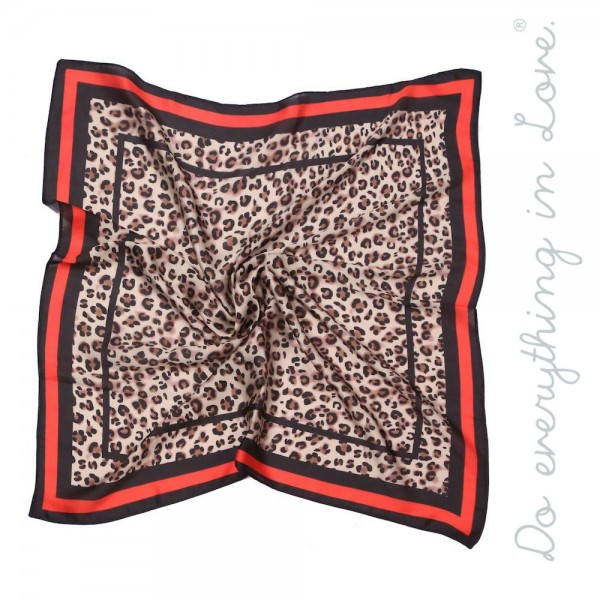 "Do everything in Love brand lightweight silky leopard print bandana scarf.  - Approximately 27"" x 27"" - 100% Polyester"