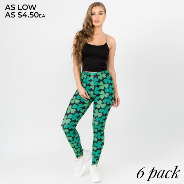 Wholesale women s classic clover print leggings o rise elasticized waistband o F