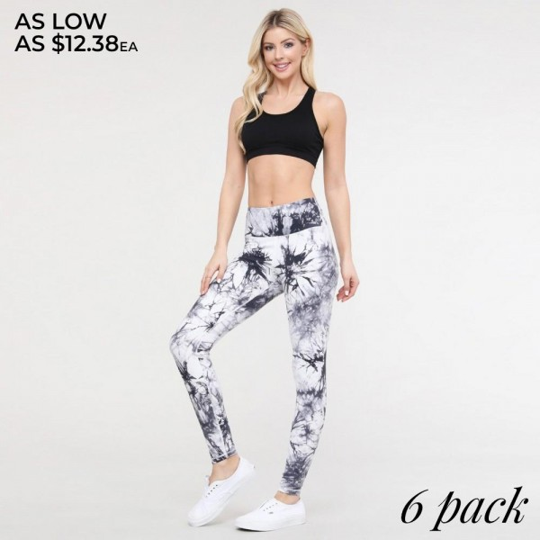 "Women's Active Buttery Soft Tie-Dye Workout Leggings.  • Elasticized pocket waistband • Unique tie-dye print design • 4-way stretch for a move-with-you feel • Super soft brushed knit fabrication • Moisture wicking fabric • Cotton Gusset Lining • Squat Proof • Fits like a glove • Great for all low-high impact workouts • Imported  - Pack Breakdown: 6pcs/pack - Sizes: 2-S / 2-M / 2-L  - Inseam approximately 28"" L - 75% Nylon, 25% Spandex"