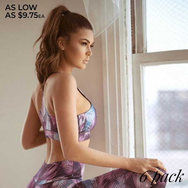 """Women's active feather print workout sports bra.  • High neckline • Feather print • Removable padding provides shaping & support • Racer-back design • Moisture wicking fabric that keeps you cool & dry • 4-way stretch for a move-with-you feel • Great for all low to high impact workouts  - Pack Breakdown: 6pcs/pack - Sizes 2-S / 2-M / 2-L - Bust approximately 14"""" W - Top shoulder to under bust 11"""" L - Body: 46% Polyester, 41% Nylon, 13% Spandex - Lining 1: 80% Nylon, 20% Spandex - Lining 2: 75% Nylon, 25% Spandex"""