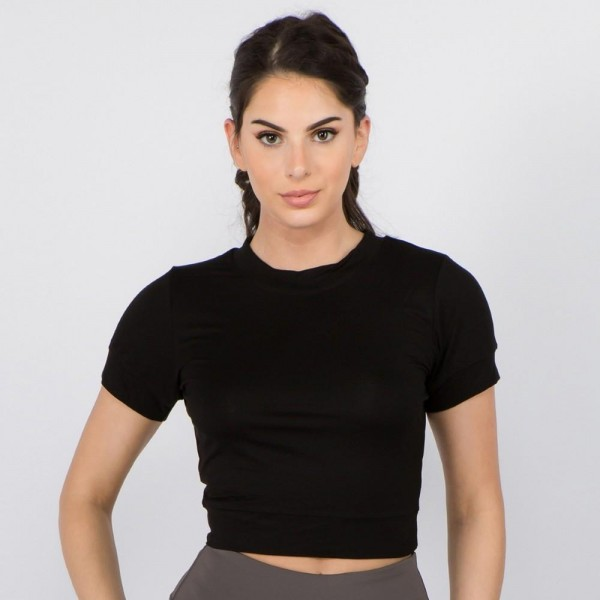 "Women's Solid Color Surplice Cut Out Back Crop Top.  • Crew neckline • Banded short sleeves • Surplice cut-out back design • Cropped length • Soft and comfortable fabric with stretch • Pullover styling • Imported  - Pack Breakdown: 6pcs/pack - Sizes: 2-S / 2-M / 2-L - Approximately 15"" L - 95% Rayon / 5% Spandex"