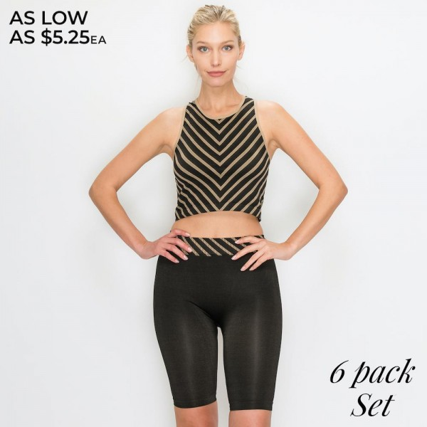 Women's Active Seamless Chevron Striped Crop Tank Top and Biker Short Set.  - Size XS/S (top): 16'' long from high point of shoulder to hem Size XS/S (shorts): 9'' inseam - 92% Polyester / 8% Spandex - Machine wash; tumble dry - Imported  - Pack Breakdown: 6pcs/pack - Sizes: 3-XS/S / 3-M/L