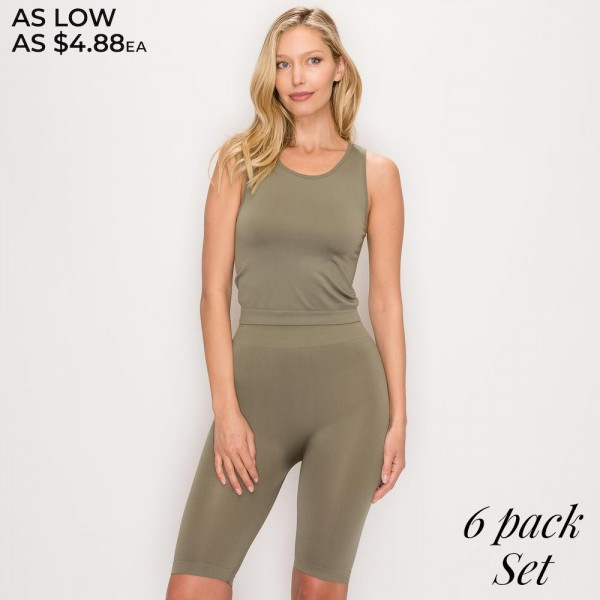 """Women's Active Solid Seamless Scoop Neck Tank Top and Biker Short Set.  - Includes Seamless scoop tank and Bike Shorts (two pieces total) - Size S (top): 17"""" long from high point of shoulder to hem - Size S (shorts): 8'' inseam - 92% Polyester / 8% Spandex - Machine wash; tumble dry - Imported  - Pack Breakdown: 6pcs/pack - Sizes: 2-S / 2-M / 2-L"""