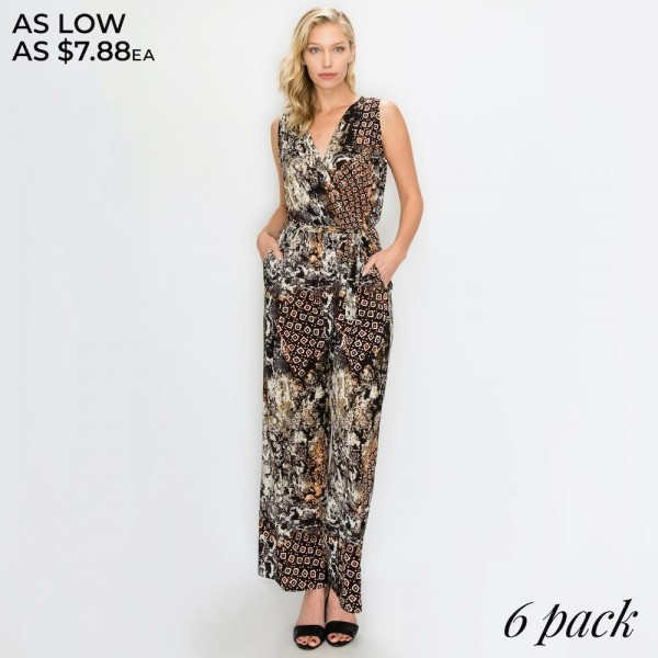 "Women's Geometric Animal Print Surplice Belted Jumpsuit with Pockets.  - Pack Breakdown: 6pcs/pack - Sizes: 2-S / 2-M / 2-L  - Inseam approximately 25"" L - 95% Polyester, 5% Spandex"