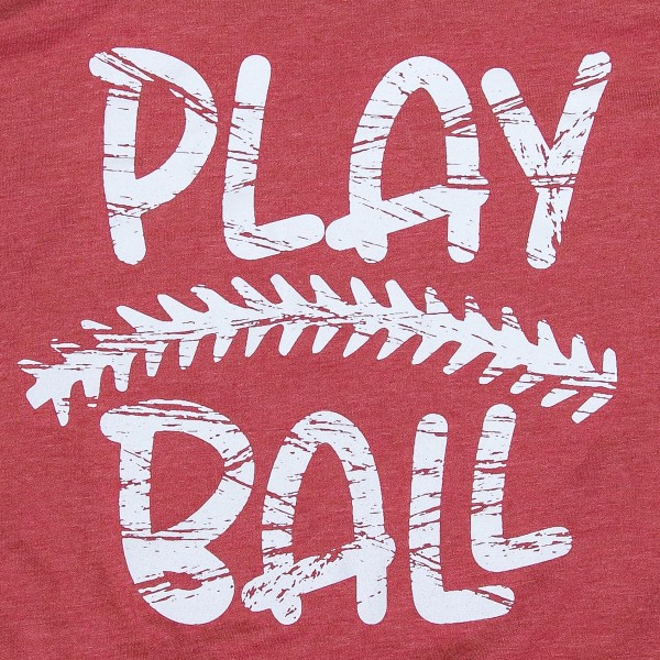 "Brick Red Bella Canvas brand distressed ""Play Ball"" baseball screen printed boutique graphic tee.  - Pack Breakdown: 6pcs/pack - Sizes: 1S / 2M / 2L / 1XL - 52% Cotton, 46% Polyester"