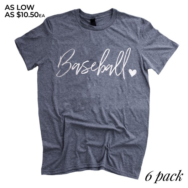 Dusty Blue Anvil Lightweight brand short sleeve distressed Baseball script printed boutique graphic tee.  - Pack Breakdown: 6pcs/pack - 1-S / 2-M / 2-L / 1-XL - 65% Polyester / 35% Cotton