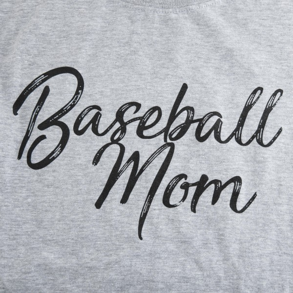 "Heather Grey Gildan Softstyle brand short sleeve distressed ""Baseball Mom"" printed boutique graphic tee.  - Pack Breakdown: 6pcs/pack - 1-S / 2-M / 2-L / 1-XL - 90% Cotton / 10% Polyester"