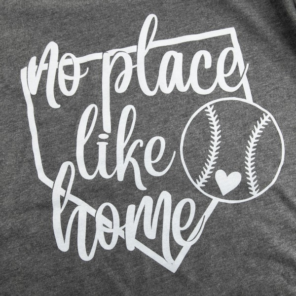 "Grey Bella Canvas brand short sleeve ""No Place Like Home"" printed boutique graphic tee.  - Pack Breakdown: 6pcs/pack - 1-S / 2-M / 2-L / 1-XL  - 52% Cotton / Polyester"