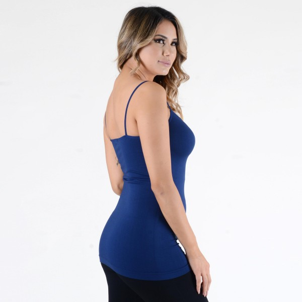 "Women's Solid Color Seamless Camisole.  • Spaghetti straps  • Seamless design for extra comfort  • Longline hem  • Soft and stretchy  • Curve-Hugging • Body Contouring  • Perfect for layering under sheer tops or by itself  • Imported   - One size fits most 0-14 - Approximately 18"" L - 92% Nylon / 8% Spandex"