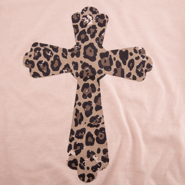 Peach Bella Canvas Brand Short Sleeve Leopard Print Cross Printed Boutique Graphic Tee.  - Pack Breakdown: 6pcs/pack - Sizes: 1-S / 2-M / 2-L / 1-XL - 52% Cotton / 48% Polyester