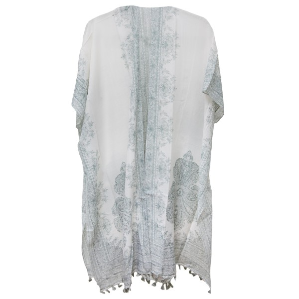 "Women's Lightweight Paisley Damask Print Tassel Kimono.  - One size fits most 0-14 - Approximately 37"" L - 100% Polyester"
