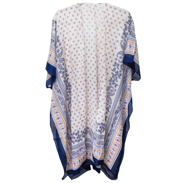 """Women's Lightweight Paisley Print Geometric Bordered Kimono.   - One size fits most 0-14 - Approximately 37"""" L - 100% Polyester"""