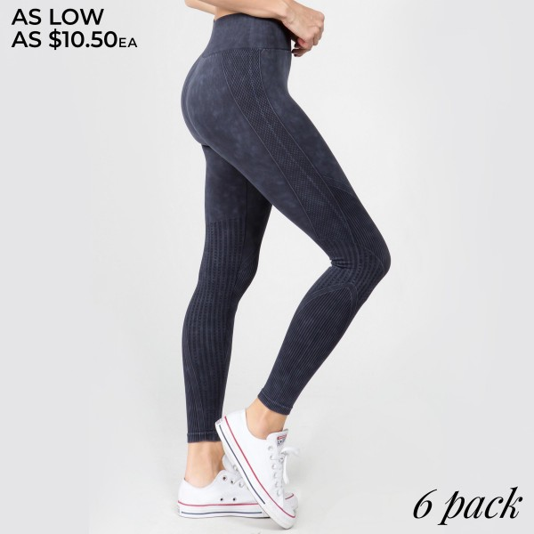 "Women's High Rise Seamless Ribbed Moto Workout Tights.  • Elasticized tummy-flattening waistband • Moto inspired detail along legs • Stretchy and comfortable • Fits your body like a glove • Seamless design • Imported  - Pack Breakdown: 6pcs/pack - Sizes: 2-S/M / 2-M/L / 2-L/XL - Inseam approximately 22"" L - 94% Nylon / 6% Lycra"
