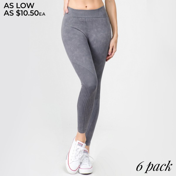 """Women's High Rise Seamless Ribbed Moto Workout Tights.  • Elasticized tummy-flattening waistband • Moto inspired detail along legs • Stretchy and comfortable • Fits your body like a glove • Seamless design • Imported  - Pack Breakdown: 6pcs/pack - Sizes: 2-S/M / 2-M/L / 2-L/XL - Inseam approximately 22"""" L - 94% Nylon / 6% Lycra"""