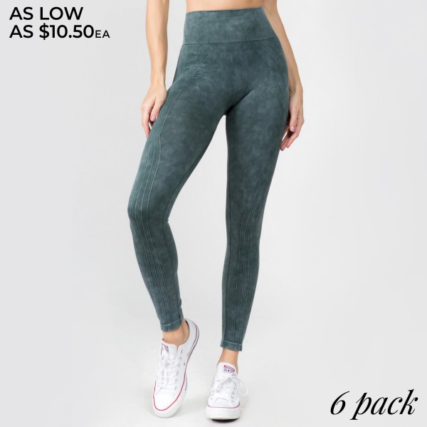 """Women's High Rise Stone Wash Vertically Curved Seamless Workout Tights.  • Elasticized tummy-flattening waistband • Moto inspired detail along legs • Stretchy and comfortable • Fits your body like a glove • Seamless design • Stonewashed rinse • Imported  - Pack Breakdown: 6pcs/pack - Sizes: 2-S/M / 2-M/L / 2-L/XL - Inseam approximately 22"""" L - 94% Nylon / 6% Lycra"""