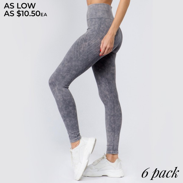 "Women's High Rise Stone Wash Vertically Curved Seamless Workout Tights.  • Elasticized tummy-flattening waistband • Moto inspired detail along legs • Stretchy and comfortable • Fits your body like a glove • Seamless design • Stonewashed rinse • Imported  - Pack Breakdown: 6pcs/pack - Sizes: 2-S/M / 2-M/L / 2-L/XL - Inseam approximately 22"" L - 94% Nylon / 6% Lycra"