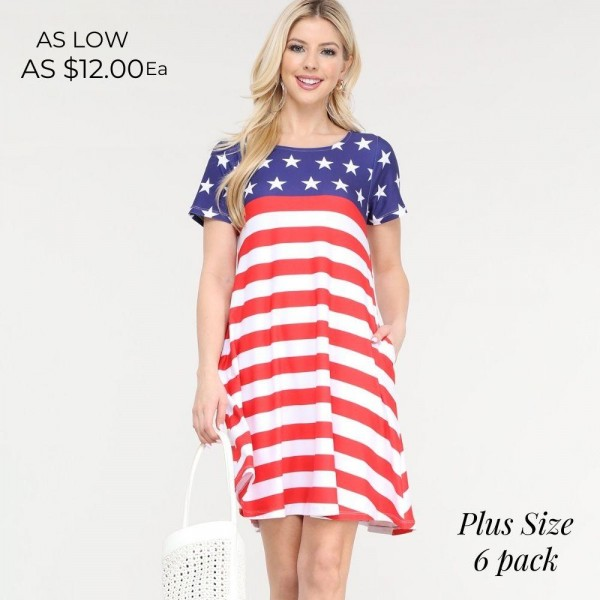 "Women's Plus Size American Flag Summer Dress with Pockets.  • Round neckline • Short sleeves • Two pockets to keep your hands warm • A-line silhouette • Soft and comfortable fabrication • Pull on/off design • Imported  - Pack Breakdown: 6pcs/pack - Sizes: 2-XL / 2-2XL / 2-3XL - Approximately 34"" L - 95% Polyester / 5% Spandex"