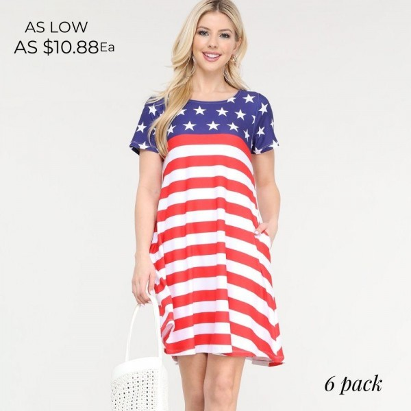 "Women's Short Sleeve American Flag Summer Dress with Pockets.  • Round neckline • Short sleeves • Two pockets to keep your hands warm • A-line silhouette • Soft and comfortable fabrication • Pull on/off design • Imported  - Pack Breakdown: 6pc/pack - Sizes: 2-S / 2-M / 2-L  - Approximately 34"" L - 95% Polyester / 5% Spandex"