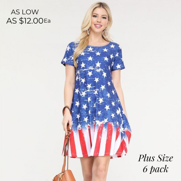 """Women's Plus Size Short Sleeve Distressed American Flag Summer Dress with Pockets.  • Round neckline • Short sleeves • Two pockets to keep your hands warm • A-line silhouette • Soft and comfortable fabrication • Pull on/off design • Imported  - Pack Breakdown: 6pcs/pack - Sizes: 2-XL / 2-2XL / 2-3XL - Approximately 34"""" L - 95% Polyester / 5% Spandex"""