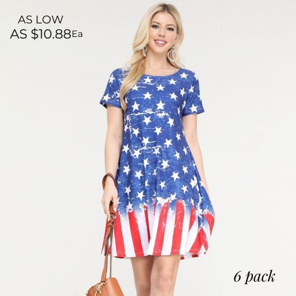 """Women's Short Sleeve Distressed American Flag Summer Dress with Pockets.  • Round neckline • Short sleeves • Two pockets to keep your hands warm • A-line silhouette • Soft and comfortable fabrication • Pull on/off design • Imported  - Pack Breakdown: 6pcs/pack - Sizes: 2-S / 2-M / 2-L - Approximately 34"""" L - 95% Polyester / 5% Spandex"""