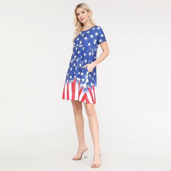 "Women's Short Sleeve Distressed American Flag Summer Dress with Pockets.  • Round neckline • Short sleeves • Two pockets to keep your hands warm • A-line silhouette • Soft and comfortable fabrication • Pull on/off design • Imported  - Pack Breakdown: 6pcs/pack - Sizes: 2-S / 2-M / 2-L - Approximately 34"" L - 95% Polyester / 5% Spandex"