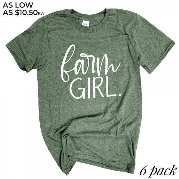 "Heather Olive Gildan Softstyle Brand ""Farm Girl"" Printed Boutique Graphic Tee.  - Pack Breakdown: 6pcs/pack - Sizes: 1-S / 2-M / 2-L / 1-XL - 65% Polyester / 35% Cotton"