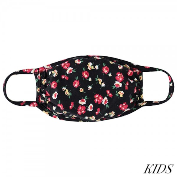 KIDS Reusable Floral Print T-Shirt Cloth Face Mask.  - Machine Wash in Cold - Mild Detergent - Lay Flat to Dry - Do Not Bleach - Reusable Face Mask - These Mask have NO Filter - One Size Fits Most KIDS (AGES 5-11 years) - Exterior Material: 95% Polyester / 5% Spandex - Interior Material: Cotton Blend in Ivory or White  ** These Masks Are Not For Professional Use and Not Medically Rated. These Masks Have No Proven Effectiveness Against Any Viruses. *** ALL Sales Final Due to CDC Recommendations