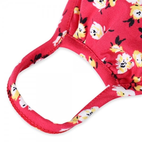KIDS Reusable Floral Print T-Shirt Cloth Face Mask.  - Machine Wash in Cold - Mild Detergent - Lay Flat to Dry - Do Not Bleach - Reusable Face Mask - These Mask have NO Filter - One Size Fits Most KIDS (AGES 5-11 years) - Exterior Material: 95% Polyester / 5% Spandex - Interior Material: Cotton Blend in Ivory or White  These Masks Are Not For Professional Use and Not Medically Rated. These Masks Have No Proven Effectiveness Against Any Viruses.