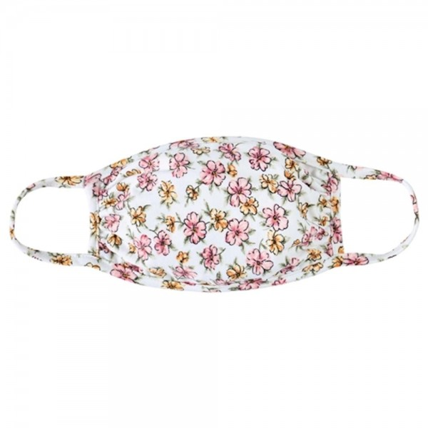 Adults Reusable Floral Blossom Print T-Shirt Cloth Face Mask.  - Machine Wash in Cold - Mild Detergent - Lay Flat to Dry - Do Not Bleach - Reusable Face Mask - These Mask have NO Filter - One Size Fits Most Adults - Exterior Material: 95% Polyester / 5% Spandex - Interior Material: Cotton Blend in Ivory or White  These Masks Are Not For Professional Use and Not Medically Rated. These Masks Have No Proven Effectiveness Against Any Viruses.