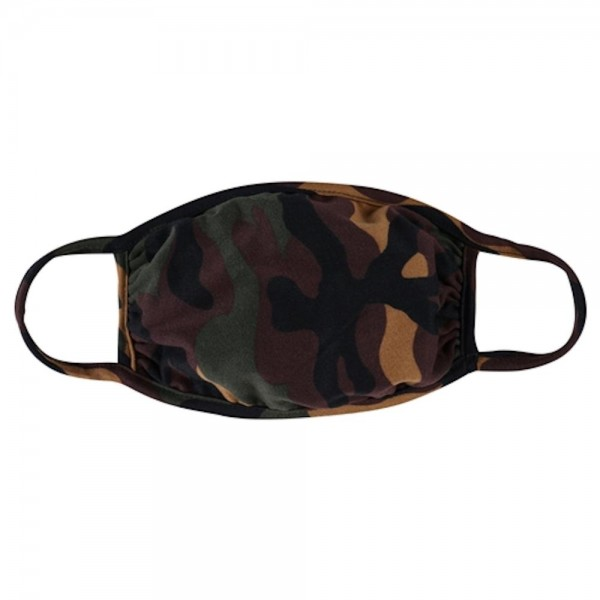 Adults Reusable Camouflage T-Shirt Cloth Face Mask.  - Machine Wash in Cold - Mild Detergent - Lay Flat to Dry - Do Not Bleach - Reusable Face Mask - These Mask have NO Filter - One Size Fits Most Adults - Exterior Material: 95% Polyester / 5% Spandex - Interior Material: Cotton Blend in Ivory or White  These Masks Are Not For Professional Use and Not Medically Rated. These Masks Have No Proven Effectiveness Against Any Viruses.